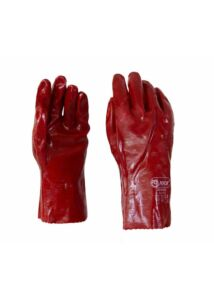 Piros PVC teljes mártott vegyszerálló kesztyű