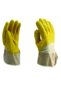 Vágásbiztos kesztyű sárga latex mártással vitorlavászon mandzsettával