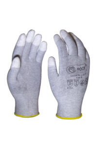 PU ujjvégen mártott ESD kesztyű, karbonszálas