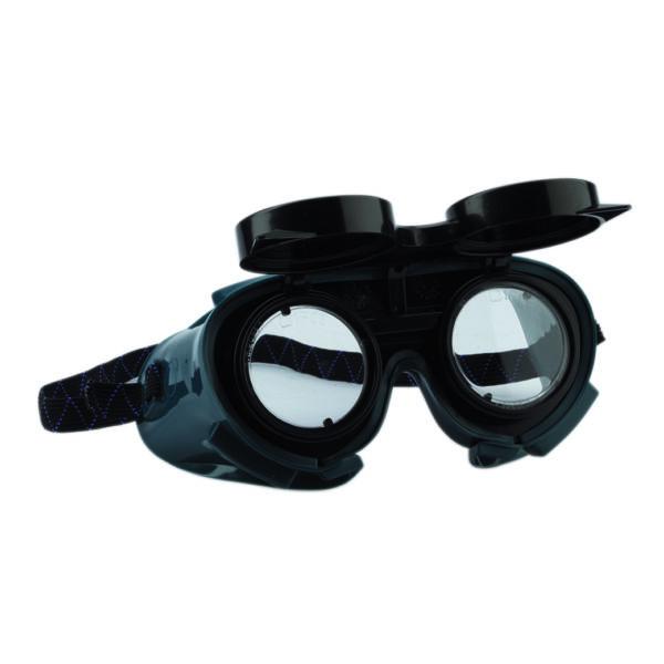 Gumipántos hegesztő védőszemüveg felhajtható lencsével